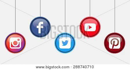 Istanbul, Turkey - March 11, 2019: Collection Of Popular Social Media Logos Printed On White Paper: