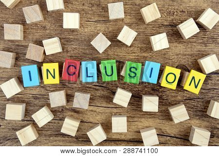 Concept: Inclusion With Colorful Toy Letters And Wooden Cubes On Dark Background