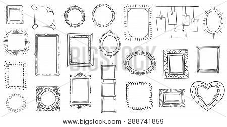 Doodle Frames. Hand Drawn Frame, Square Borders Sketched Doodles And Picture Frame Drawing Sketch Is