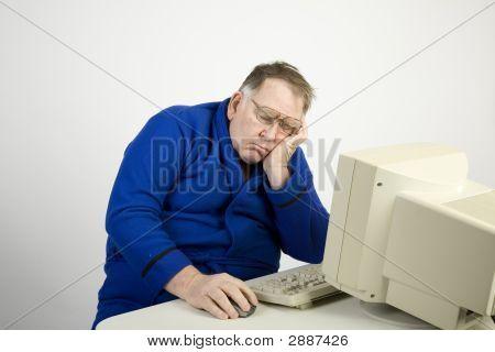 Big Guy Napping At The Computer