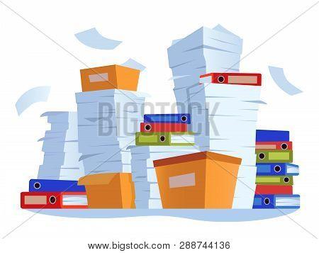 Unorganized Paperwork. Paper Documents Stack, Office Work Documentation Disarray Cartoon Illustratio
