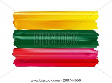 Lithuania Colorful Brush Strokes Painted National Baltic Country Lithuanian Flag Icon. Painted Textu