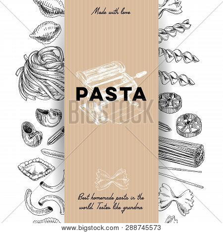 Beautiful Vector Hand Drawn Pasta Illustration. Detailed Retro Style Image. Vintage Sketch Element F