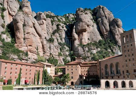Benedictine abbey, Santa Maria de Montserrat host of the Virgin of Montserrat sanctuary, Spain poster