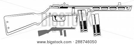 Graphic black and white detailed old retro submachine gun with ammo clip and rifle butt. Isolated on white background. Vector icon set. Vol. 6 poster