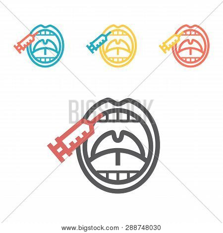 An Anesthetic Injection In The Gum. Stomatology Icon Vector Illustration.