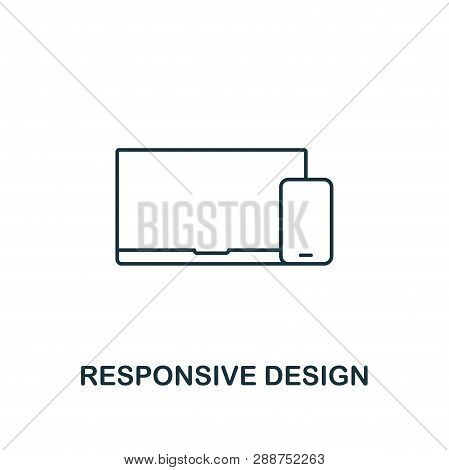 Responsive Design Icon. Thin Outline Style From Design Ui And Ux Icons Collection. Creative Responsi