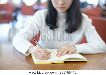 Back To School Education Knowledge College University Concept, Young Business Woman Sitting At Table