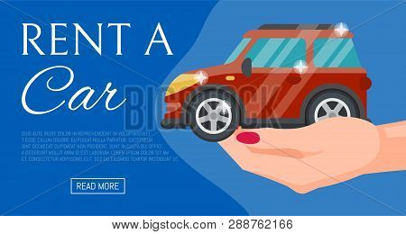 Buying Or Renting New Or Used Red Car Banner Vector Illustration. Car In Buyer Hand. Rent A Car. Mod
