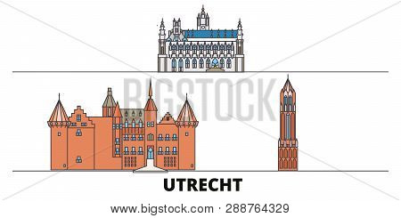 Netherlands, Utrecht Flat Landmarks Vector Illustration. Netherlands, Utrecht Line City With Famous