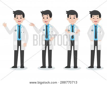 Set Of Doctor Character Medical Health Care Concept, Cartoon Character Vector In Flat Design Health