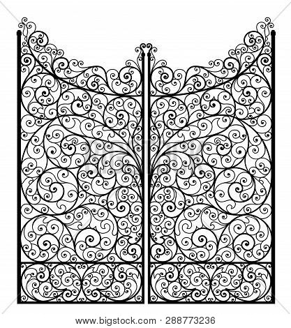 Vector Illustration Of Outline Detailed Wrought Iron Gate, Isolated On White Background.