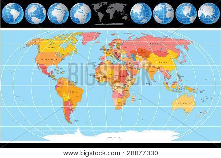 High Detailed Vector World Map with Globes, include all Countries with Capitals.