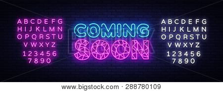 Coming Soon Neon Sign Vector. Coming Soon Design Template Neon Sign, Light Banner, Neon Signboard, N