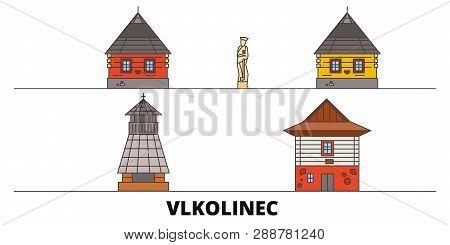Slovakia, Vlkolinec Flat Landmarks Vector Illustration. Slovakia, Vlkolinec Line City With Famous Tr