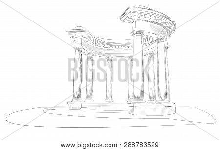 Sketch. Arbor With Eight Columns In The Doric Style, Europe, Ukraine, Poltava. Rotunda Of Friendship