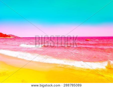 Foamy Rippled Pink Sea Wave Rolling To Yellow Sand Shore. Turquoise Blue Sky. Beautiful Toned Image