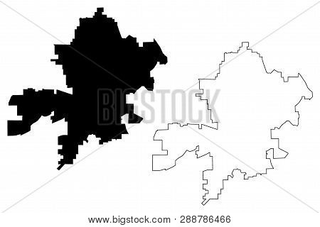 Fort Wayne City (united States Cities, United States Of America, Usa City) Map Vector Illustration,