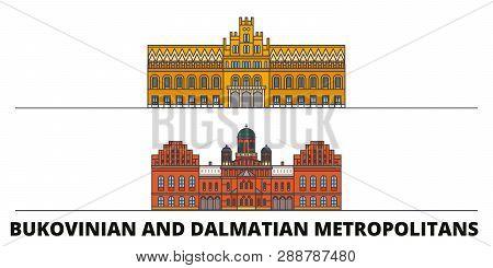 Ukraine, Bukovinian And Dalmatian Metropolitans Flat Landmarks Vector Illustration. Ukraine, Bukovin