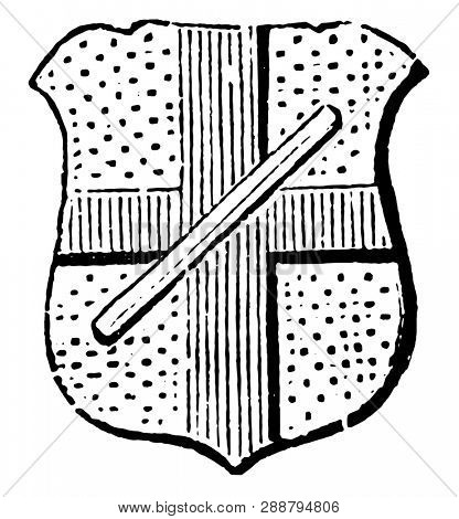 Baton Abatement is generally used as an abatement in coats of arms, vintage line drawing or engraving illustration. poster