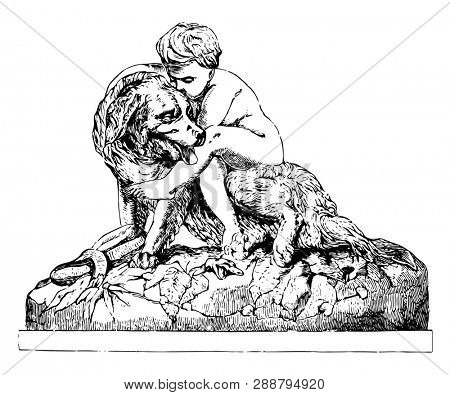 Deliverer Sculpture is a sequel to the faithful friend story by the sculptor, vintage line drawing or engraving illustration.