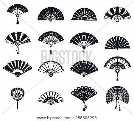 Japanese Handheld Fan Icons Set. Simple Set Of Japanese Handheld Fan Vector Icons For Web Design On