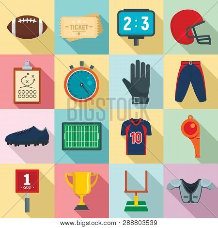 American Football Equipment Icons Set. Flat Set Of American Football Equipment Vector Icons For Web