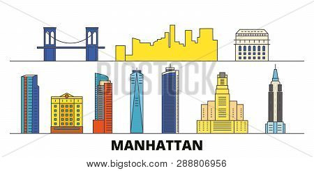 United States, New York Manhattan Flat Landmarks Vector Illustration. United States, New York Manhat