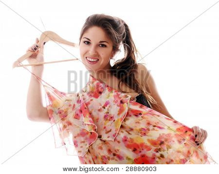 Sexy woman dressing up over white background