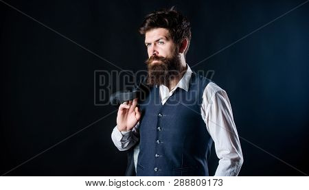Man Bearded Hipster Wear Formal Suit With Shirt Vest And Jacket. Elegant Custom Outfit Fashion. Tail