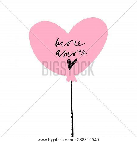 Single Pink Heart Balloon Illustration, Isolated Element