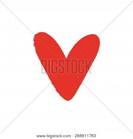 Heart Shape Art, Red Ink Brush Painting