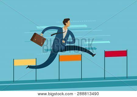Businessman Jumping Over Hurdle. Goal Achievement Business Concept. Vector Illustration