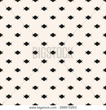 Candy Pattern. Simple Minimalist Vector Seamless Texture With Small Shapes. Abstract Black And White