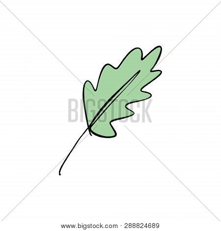 Stylized Leaf One Line Art. Contour Simple Drawing