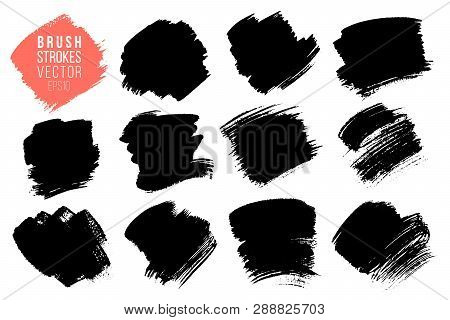 Vector Set Of Big Hand Drawn Brush Strokes, Stains For Backdrops. Monochrome Design Elements Set. On