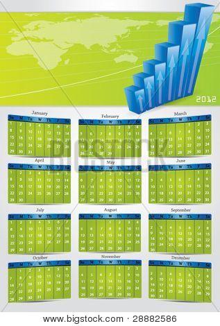 2012 vector gray calendar with financial banner