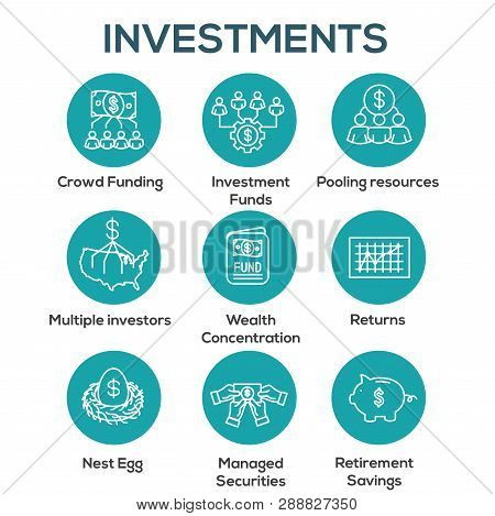 Retirement Investments / Dividend Income, Mutual Fund, IRA Icon set poster