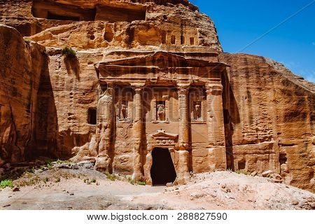 Ruins Of Petra, The Capital Of The Kingdom Of The Nabateans In Ancient Times. Unesco World Heritage