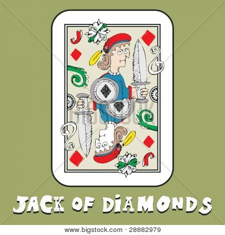 hand drawn deck of cards, doodle jack of diamonds