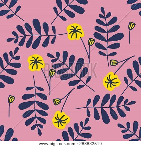 Colorful Seamless Pattern Leaves In Modern Style On Pink Background. Vintage Vector Botanical Illust