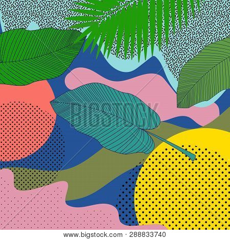 Seamless Pattern Leaves In Hipster Style. Colorful Pattern Memphis Style. Modern Flat Illustration W