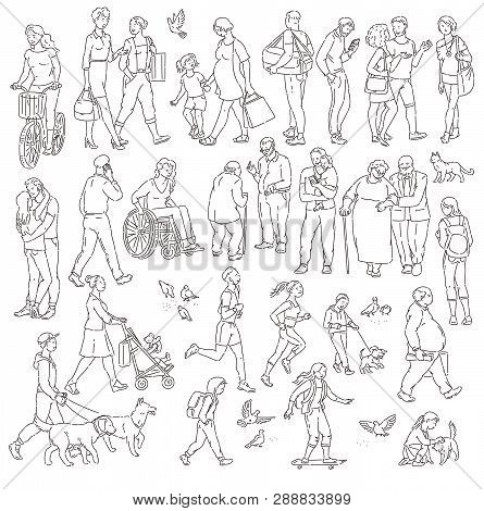 Vector Walking Urban Crowd On Street In City. Children And Adults In Various Situations. Woman With