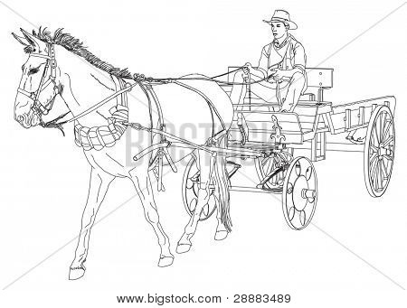 Cowboy rides in a wagon pulled by a horse. series of Wild West. Vector drawing poster