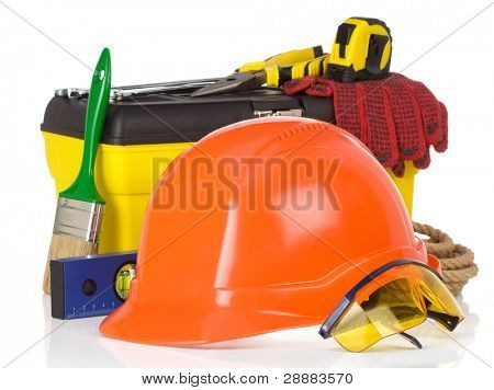 set of tools and instruments on box isolated on white background