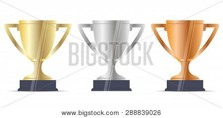 Winner Cup Reward Set. Gold, Silver, Bronze Trophy Award For Achieve Champ Place. Victory On Success