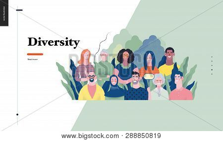 Technology 1 - Diversity - Modern Flat Vector Concept Digital Illustration Of Various People Present