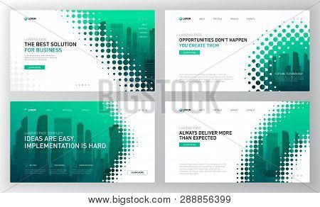 Landing Pages Templates Set For Business. Modern Web Page Design Concept Layout For Website. Vector