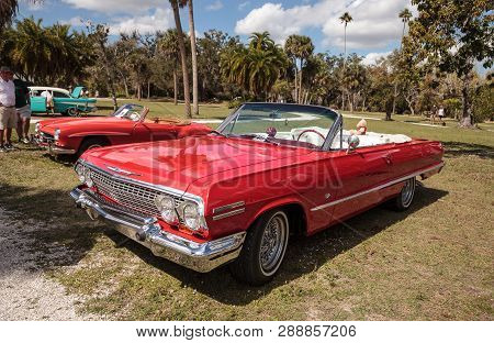 Estero, Florida, Usa - February 23, 2019:  Red 1963 Chevrolet Impala Convertible At The 10th Annual