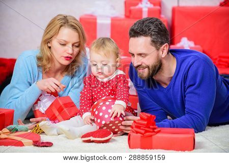Valentines Day. Lovely Family Celebrate Valentines Day. Happy Parents. Couple In Love And Baby Are H